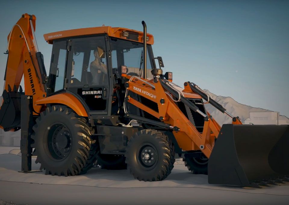 Shinrai I The all new , Revolutionary Backhoe Loader from